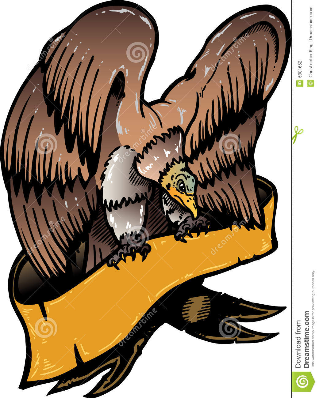 American eagle with banner vector illustration color version. Black ...