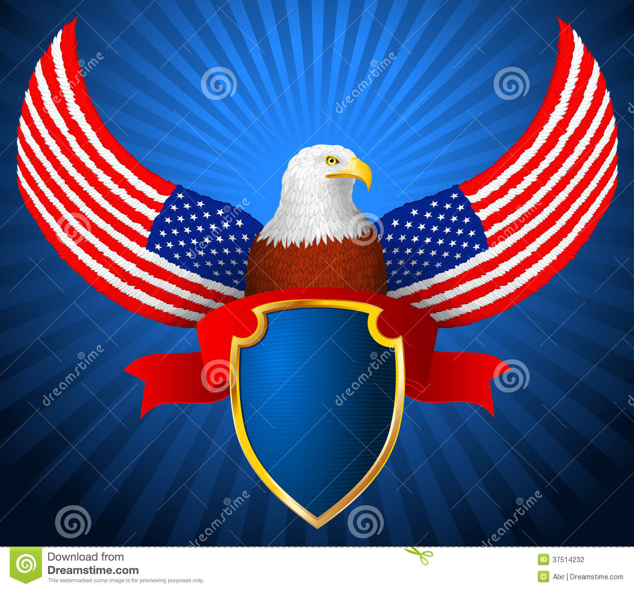 American Eagle Flag Wing Shield Ribbon Stock Photography ...