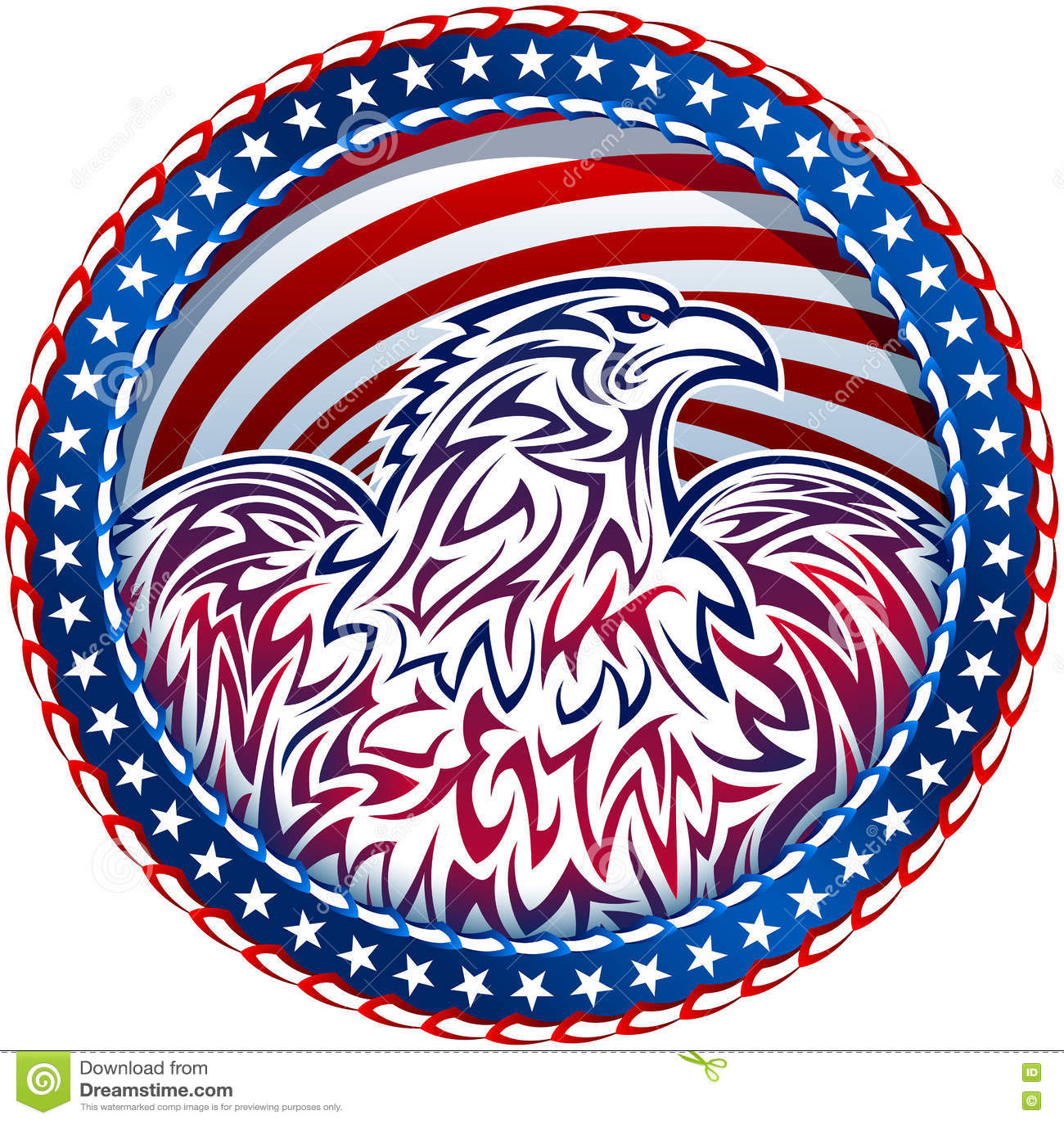 American Eagle Natioal Symbol Usa Fourth July Emblem Color Stock
