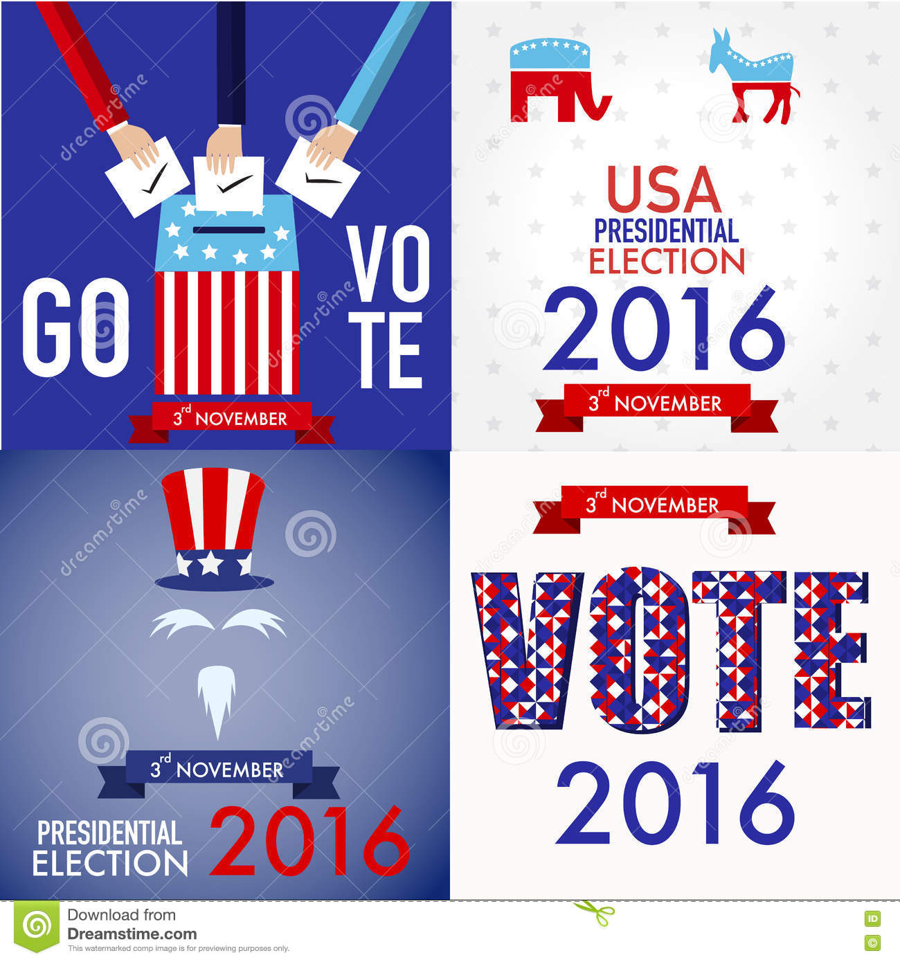 American Election 2016 Poster Design Set For Web Stock Vector