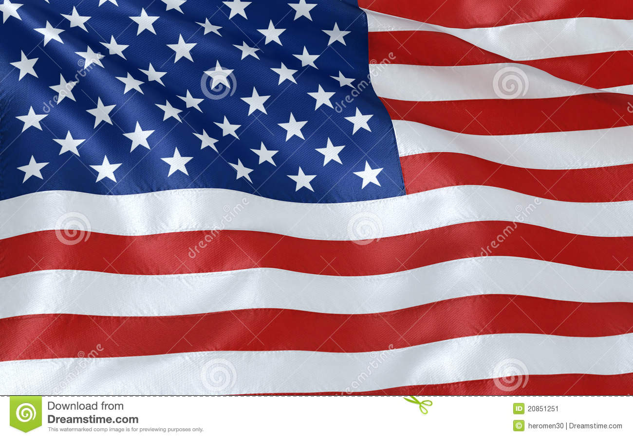 American Flag Wind Rippling Close Up Stock Image