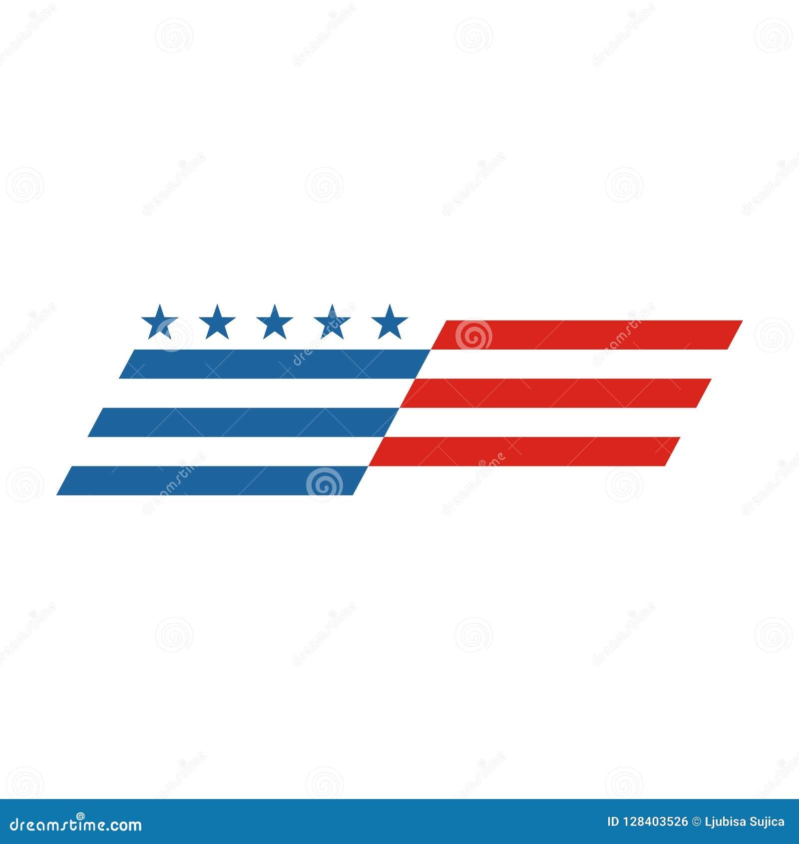 American flag abstract, USA flag logo, US flag icon