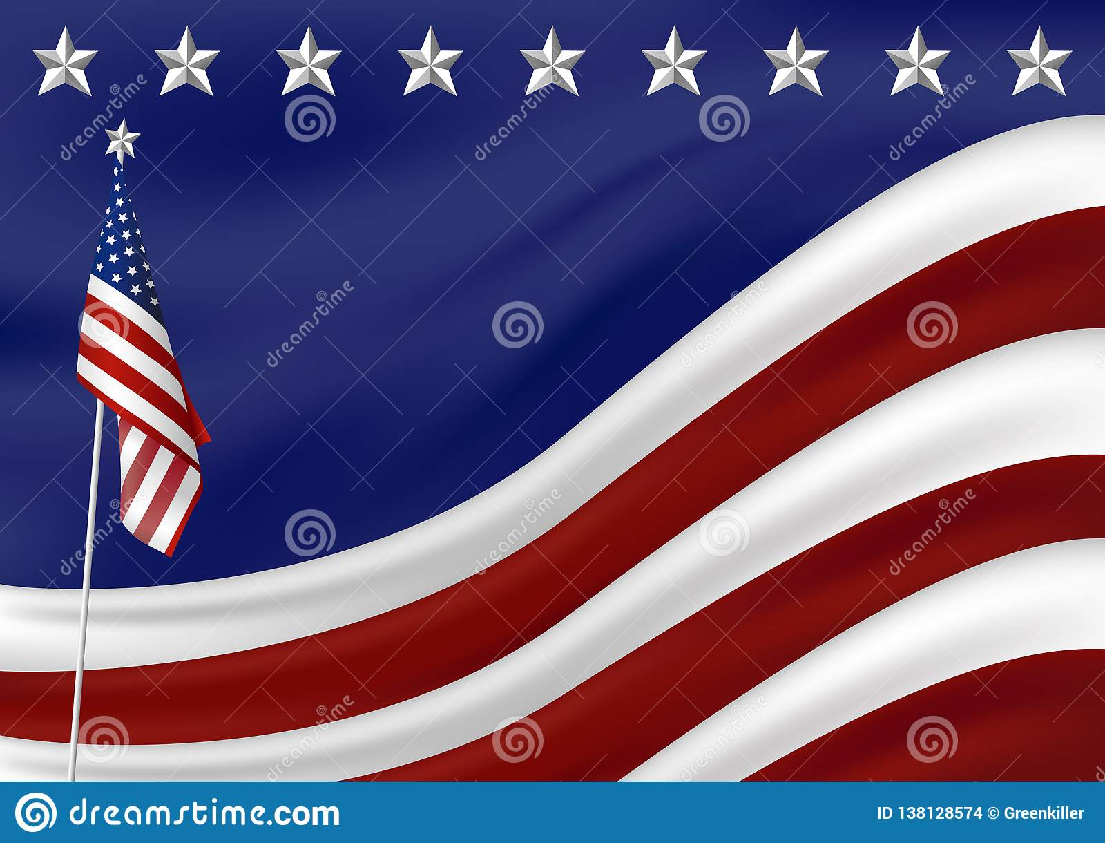 American flag background for presidents 4th july independence day vector illustration