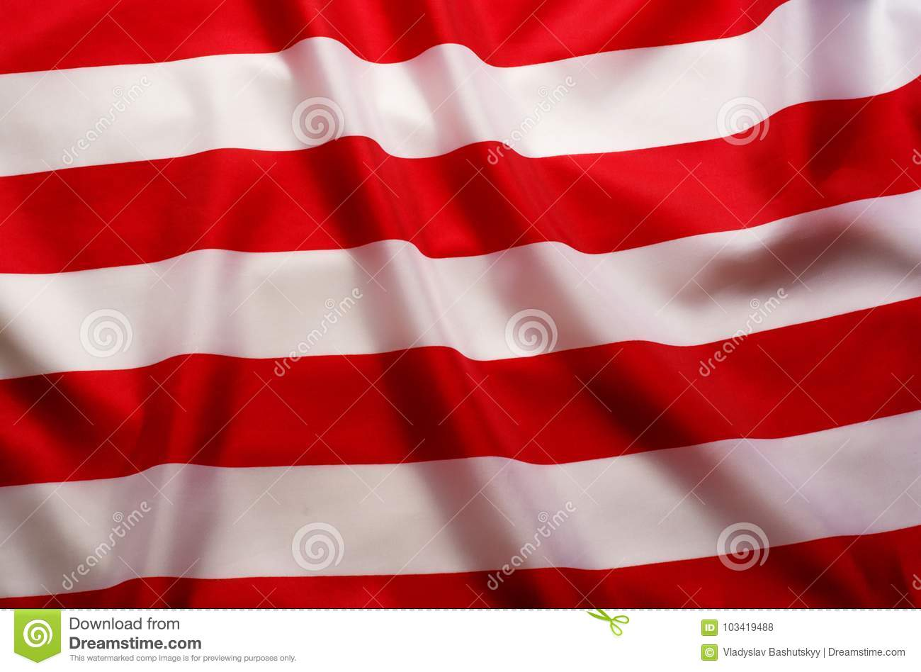 American Flag Background With Red And White Stripes Stock