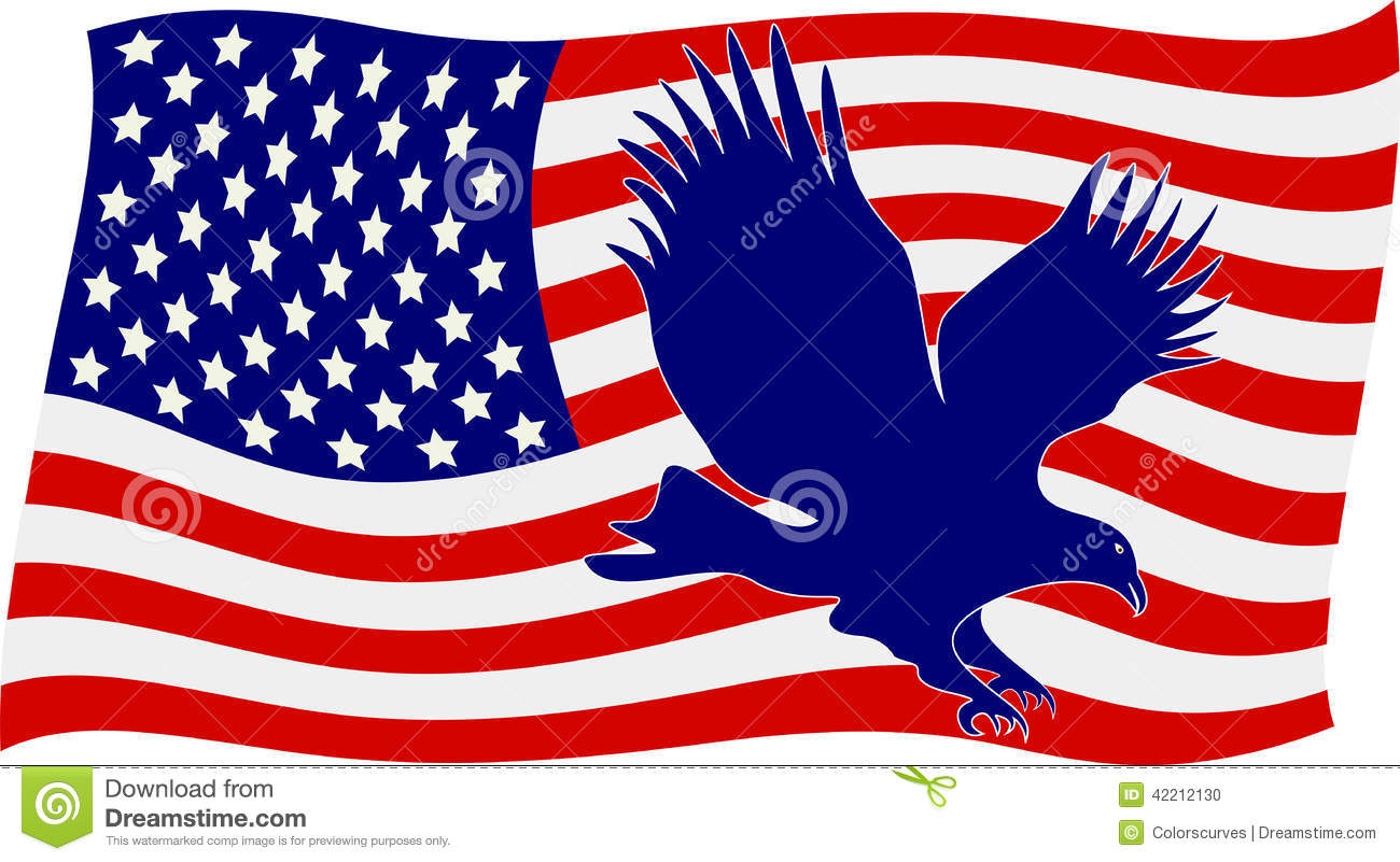 American Flag With Bald Eagle Stock Vector