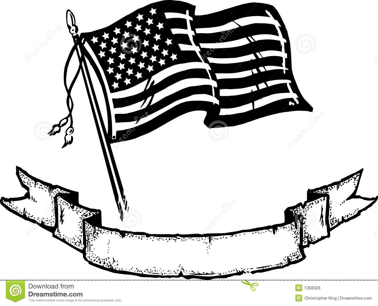 american flag and banner vector illustration stock vector image