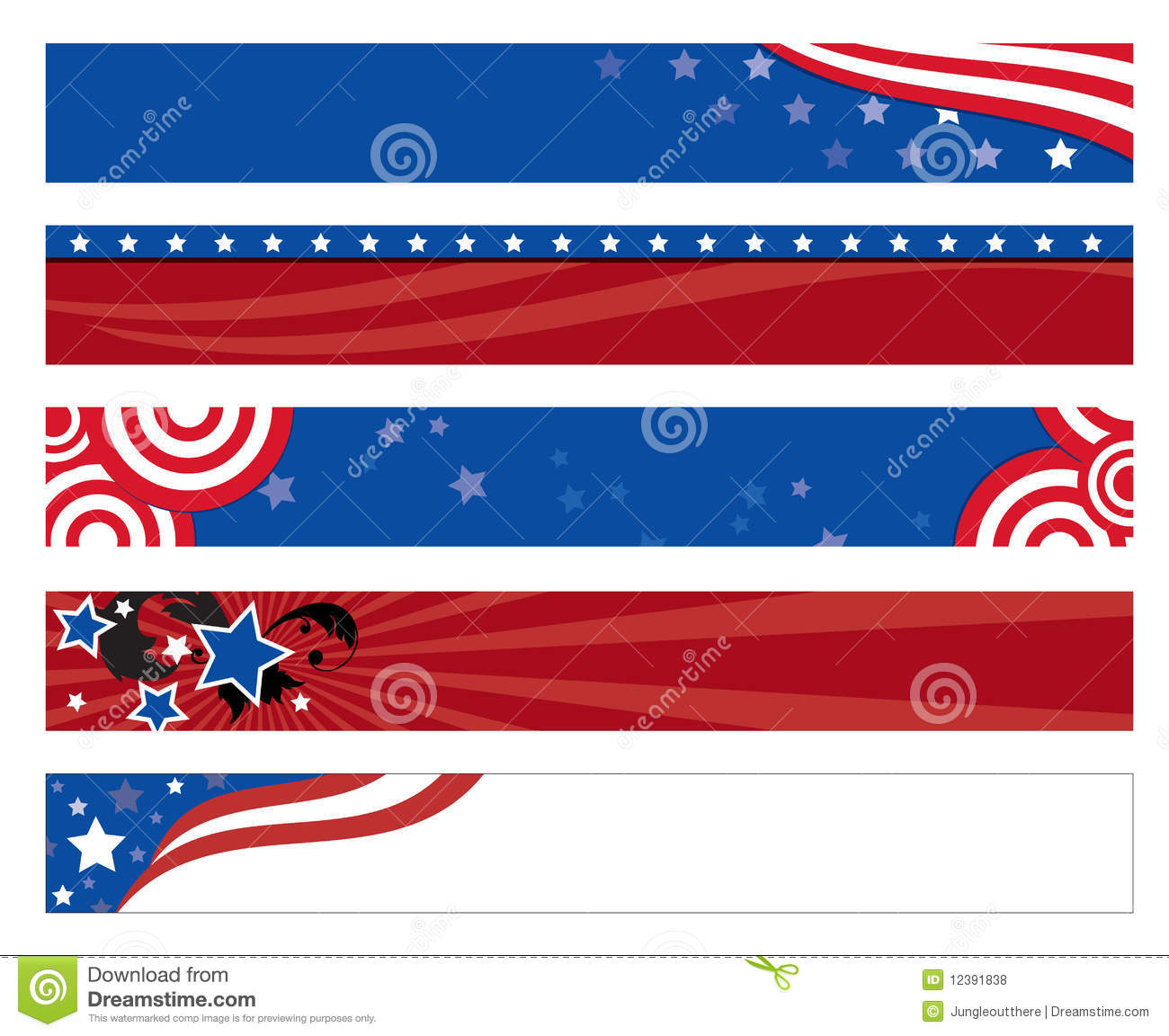 american flag banners stock vector illustration of states 12391838