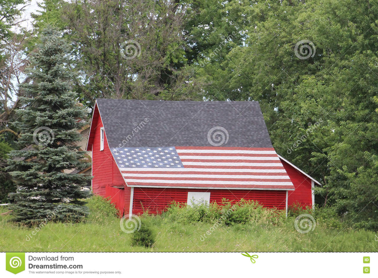 American Flag on a Barn Roof