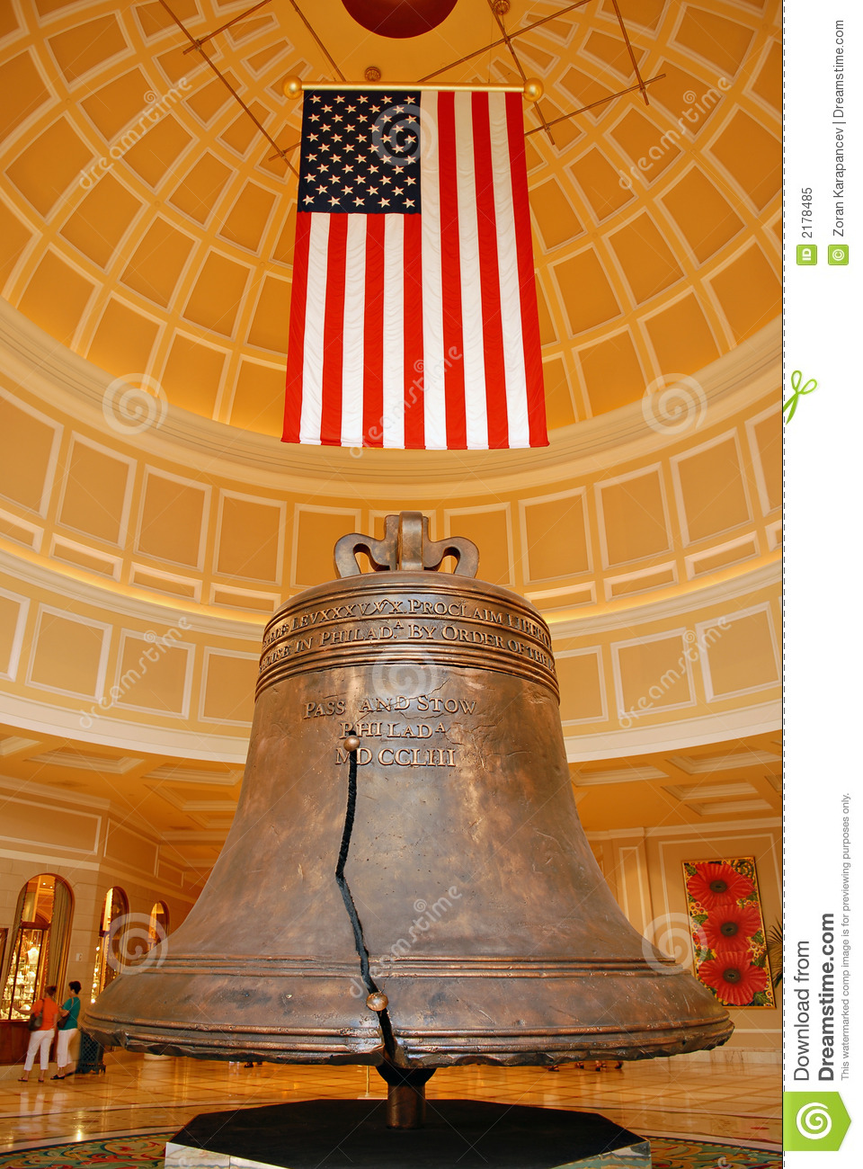 American flag and bell