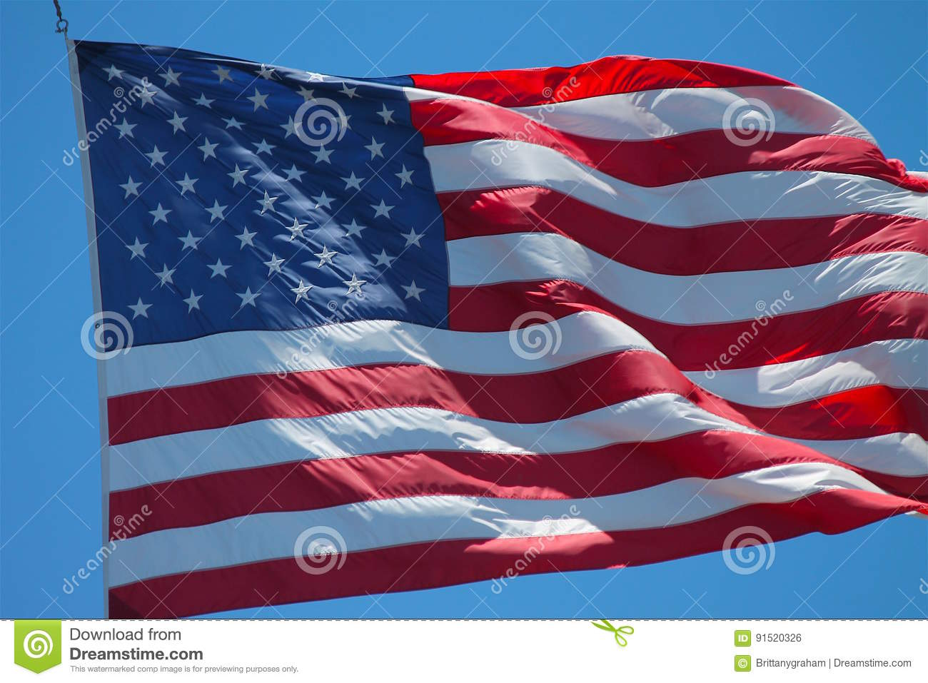 American Flag Blowing In Wind Stock Image of festive world