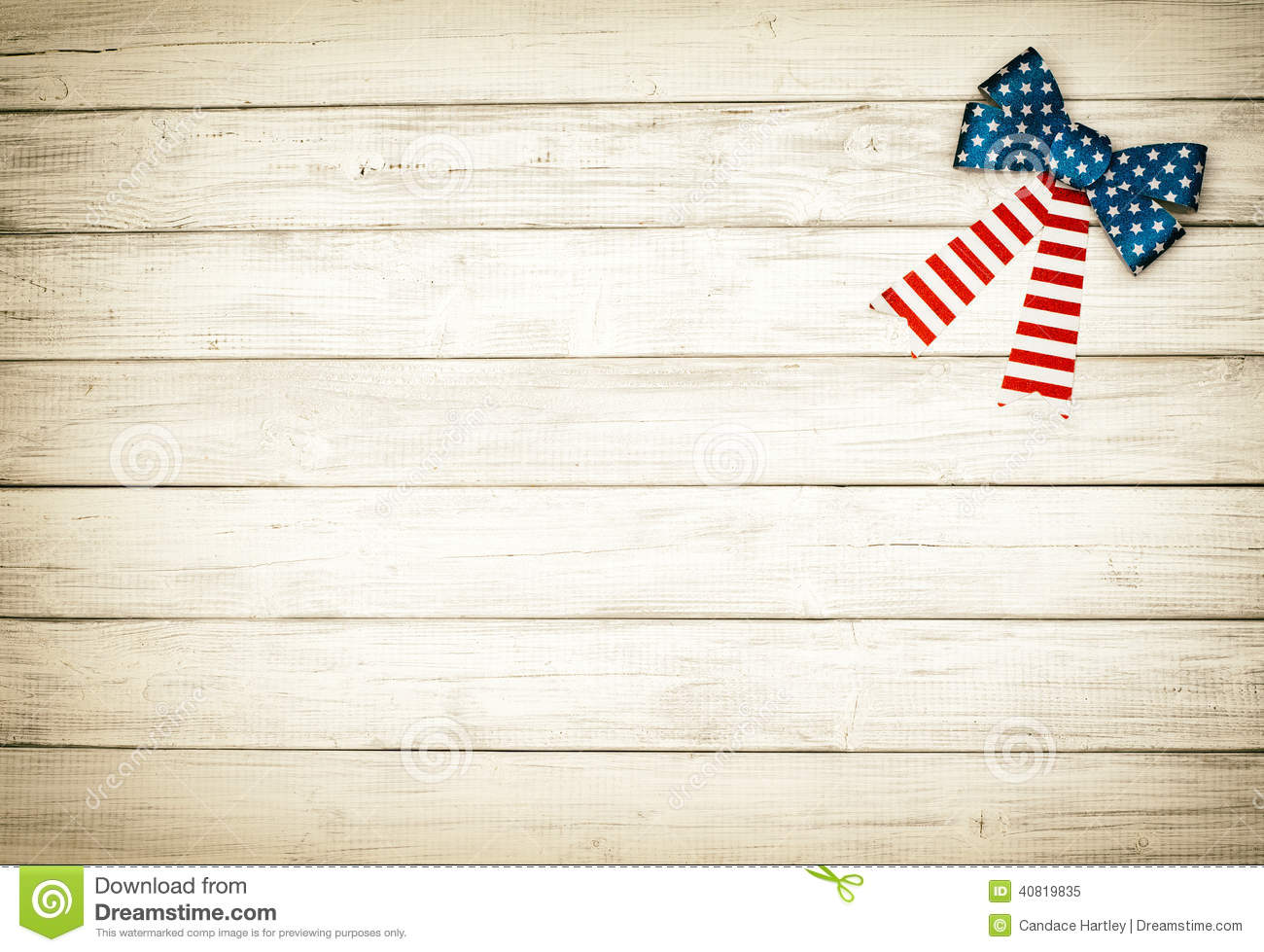 American Flag Bow on White Rustic Board Background with room or space ...