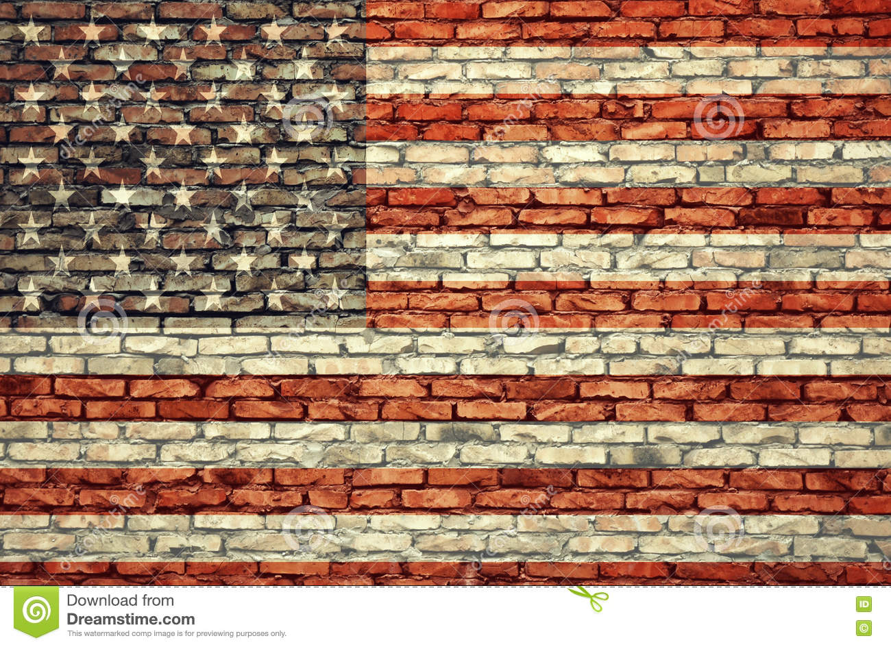 American flag on the brick wall