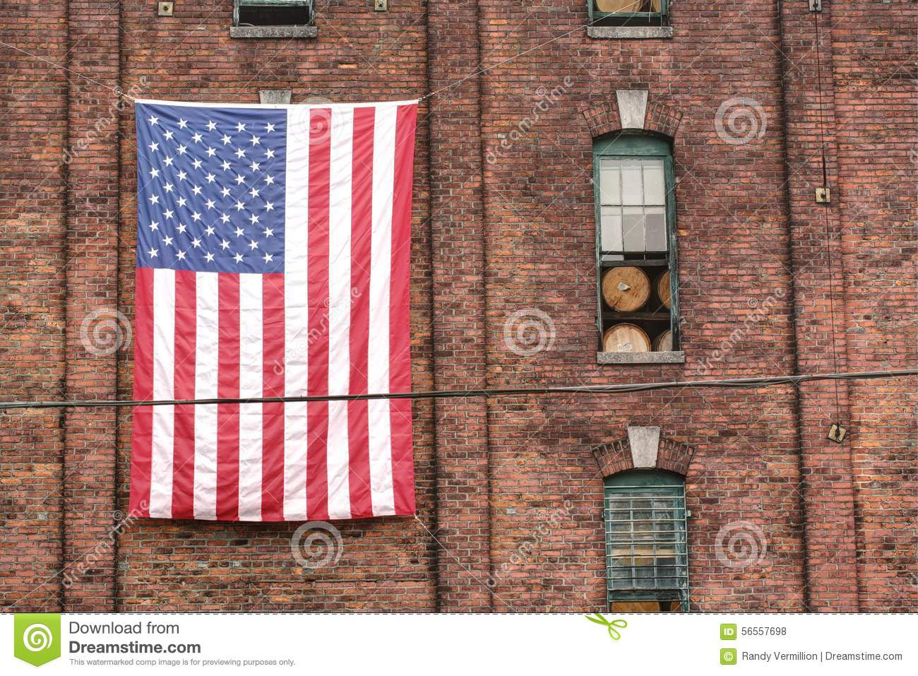 Hang Flag On Wall american flag on brick wall stock photo - image: 56557698