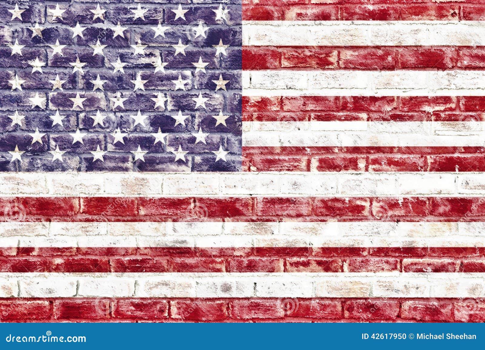 An American Flag On A Brick Wall Stock Illustration Illustration