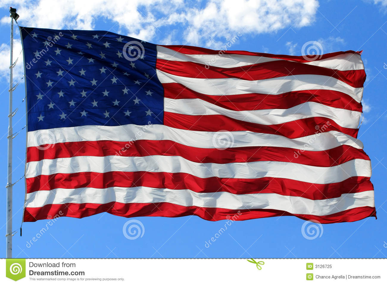 American Flag in Bright Blue