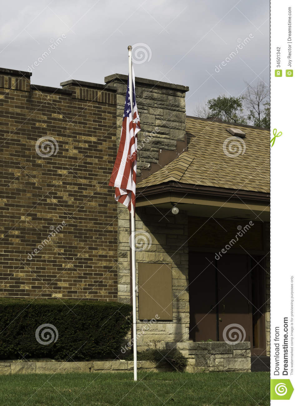American flag and building stock photography image 34501342 for American brick and stone