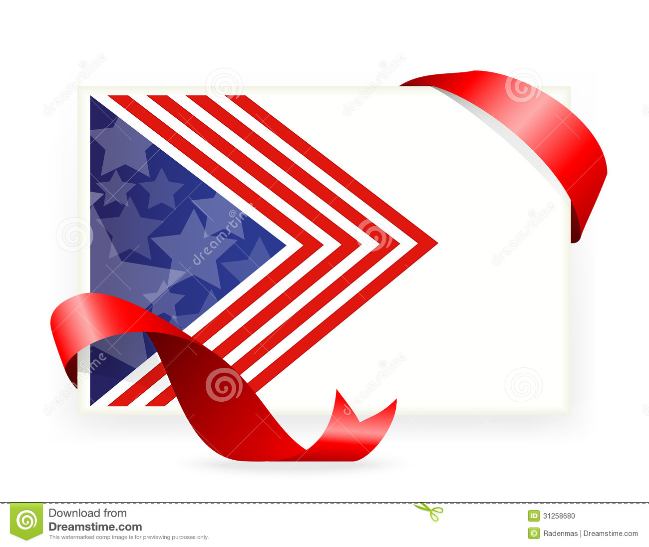 American Flag , Business Cards With Ribbon Stock Vector ...