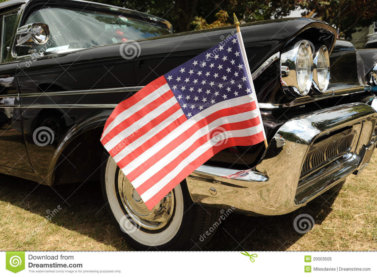 American flag and car royalty free stock photo image for American classic automotive