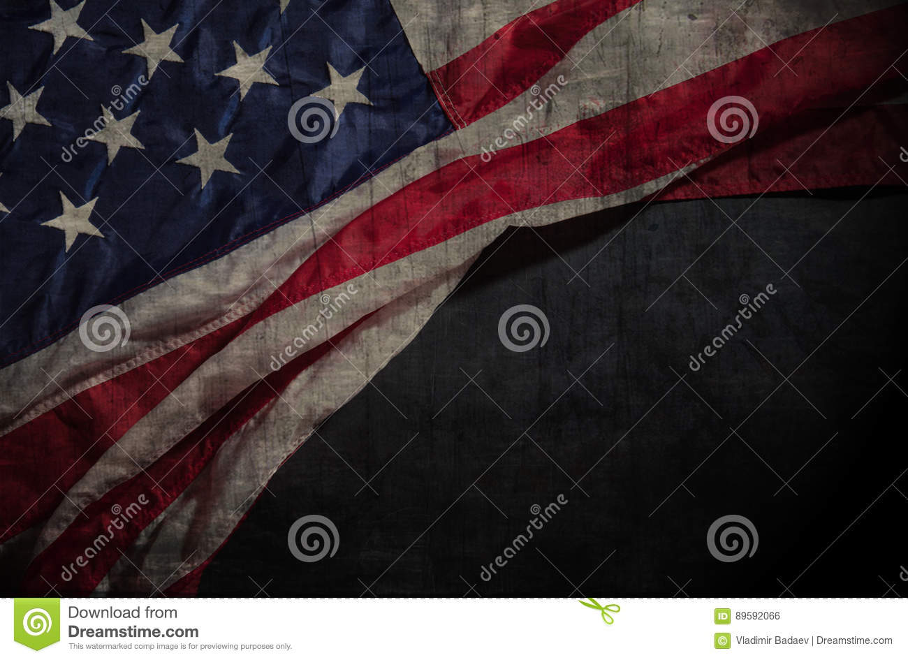 American flag on a chalkboard with space for text