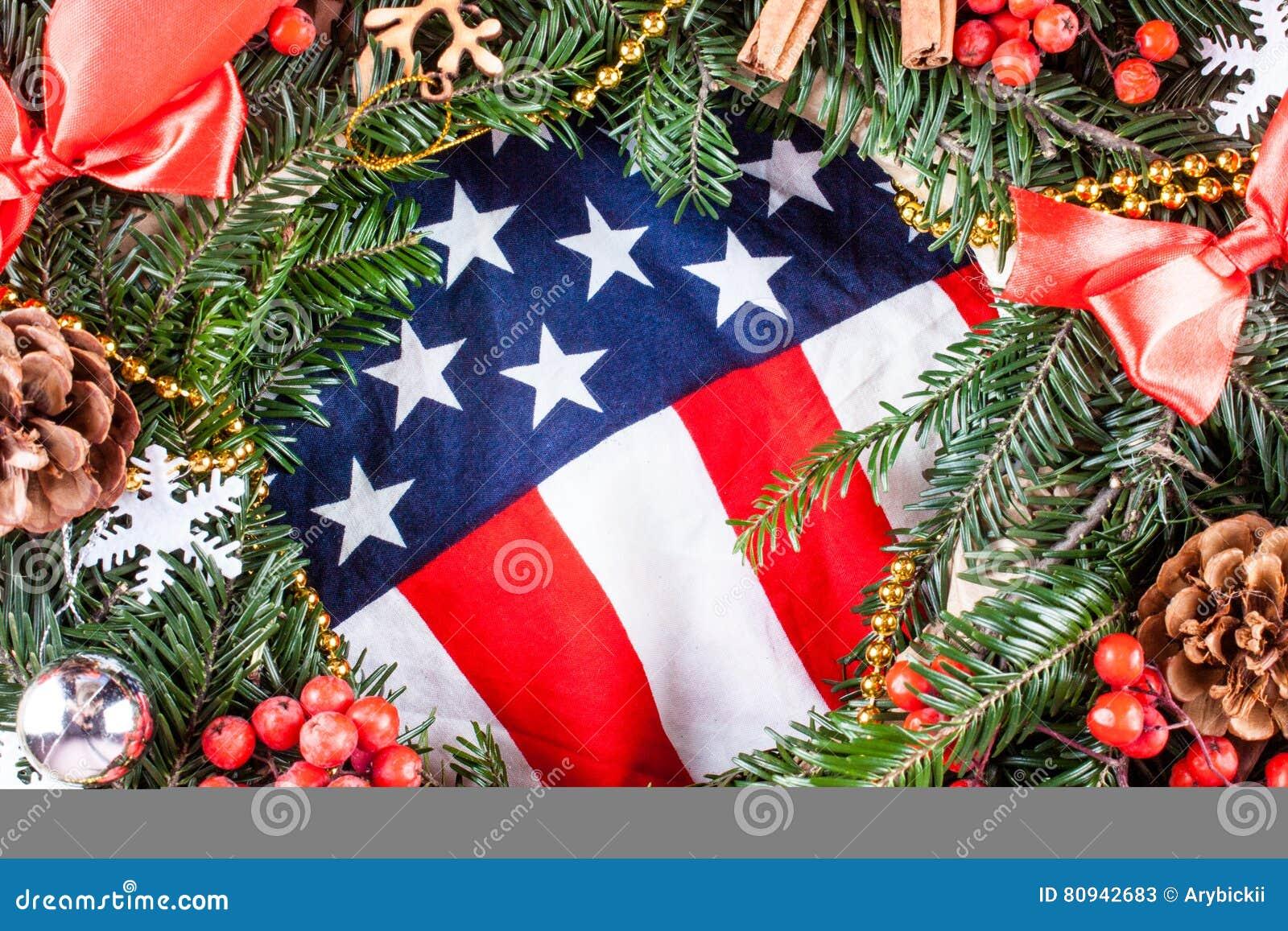 American Flag And Christmas Tree. Stock Image - Image of ...