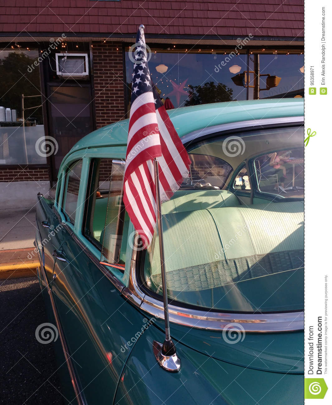 American Flag On A Classic Car Antenna Usa Editorial Photo Image