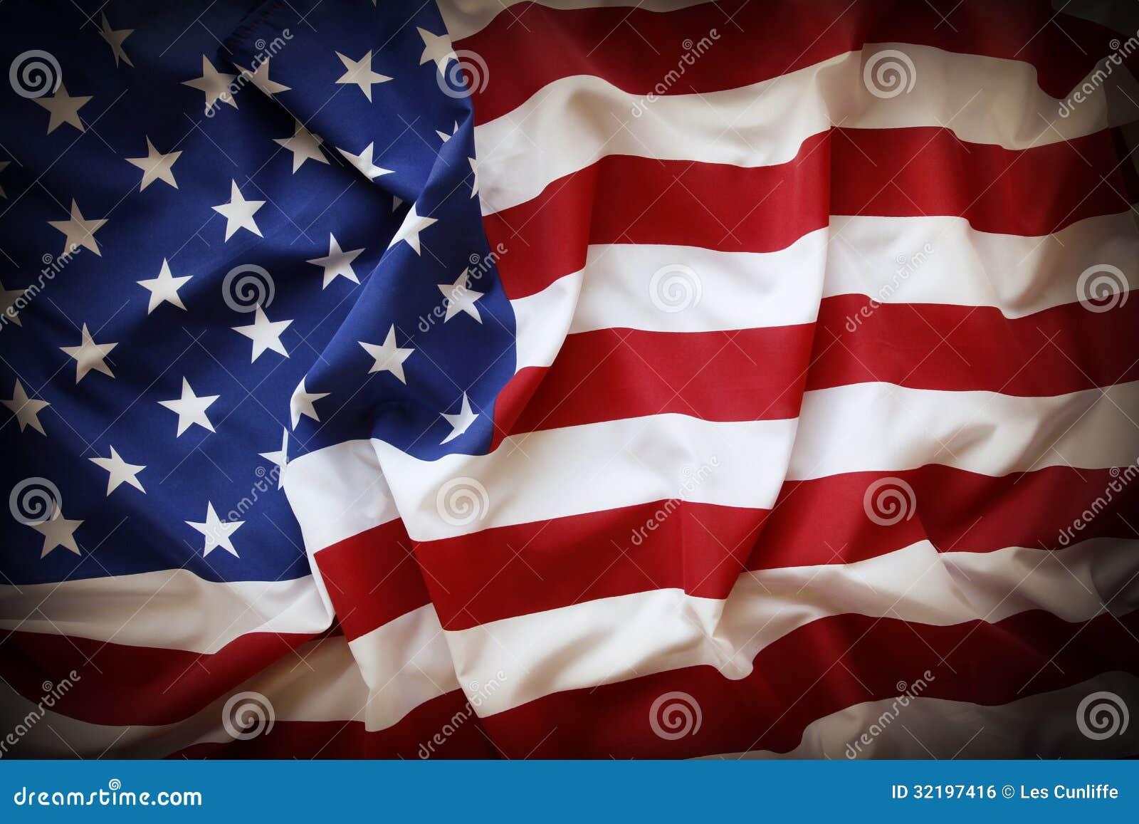 27be24f12dc5 Closeup of ruffled American flag. Dark edges