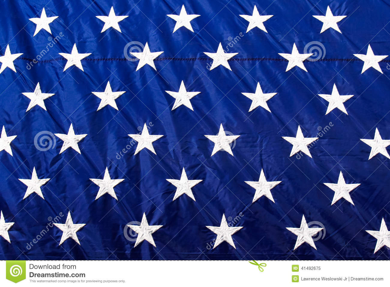 American Flag Closeup White Stars Blue Background