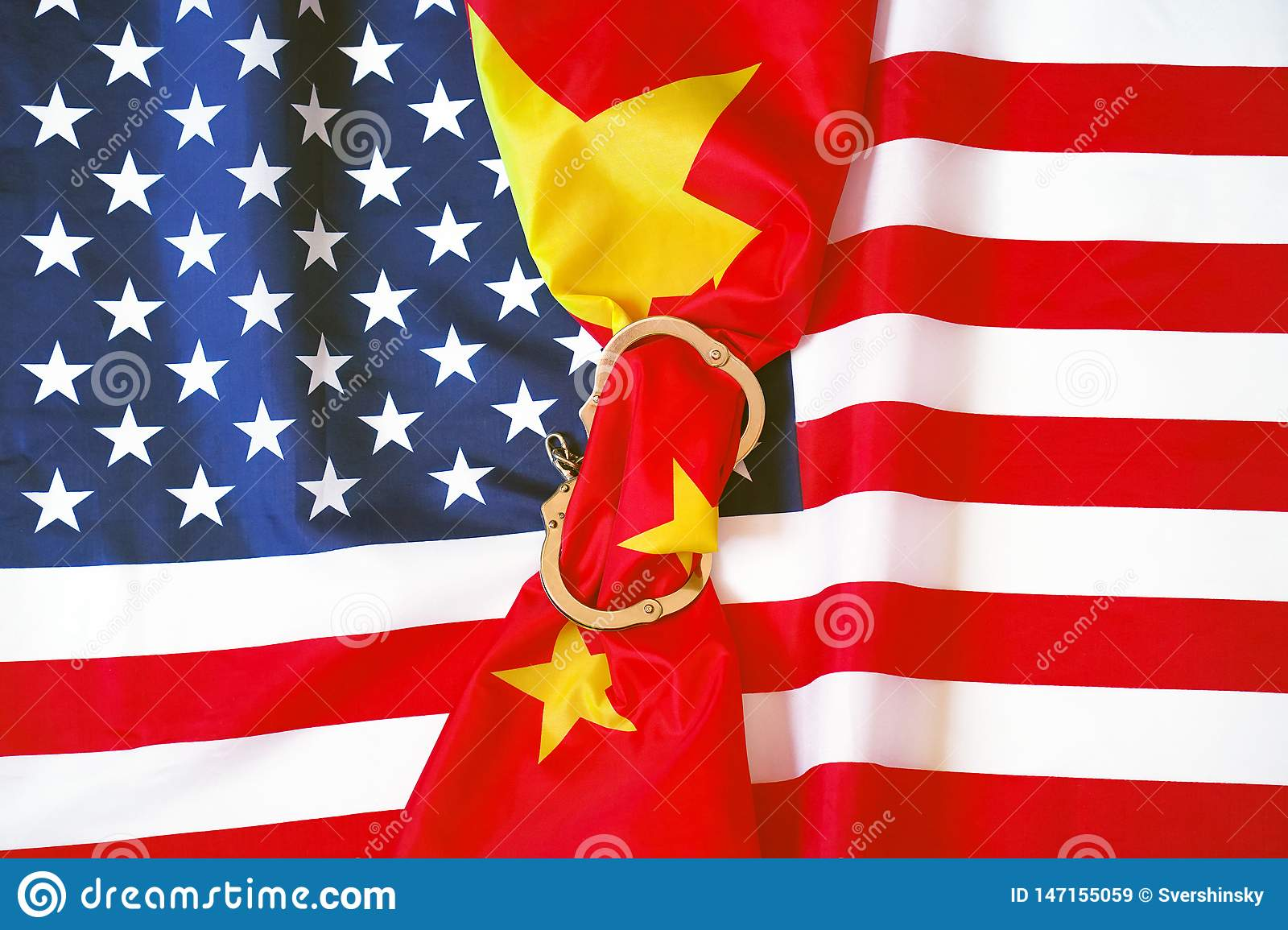 American flag. The concept of sanctions for China