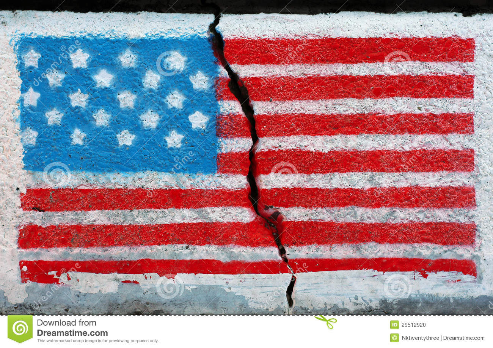 Graffiti wall usa - American Flag On A Cracked Wall Stock Photo