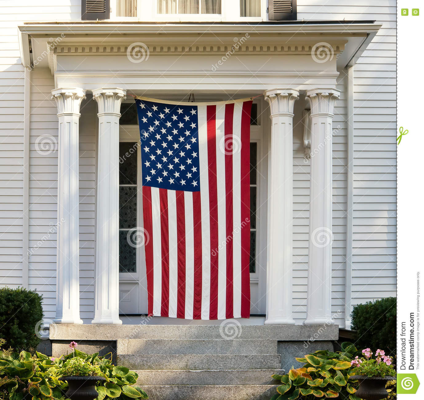 Download American Flag On The Door Of New England Home Stock Photo   Image  Of Patriotic