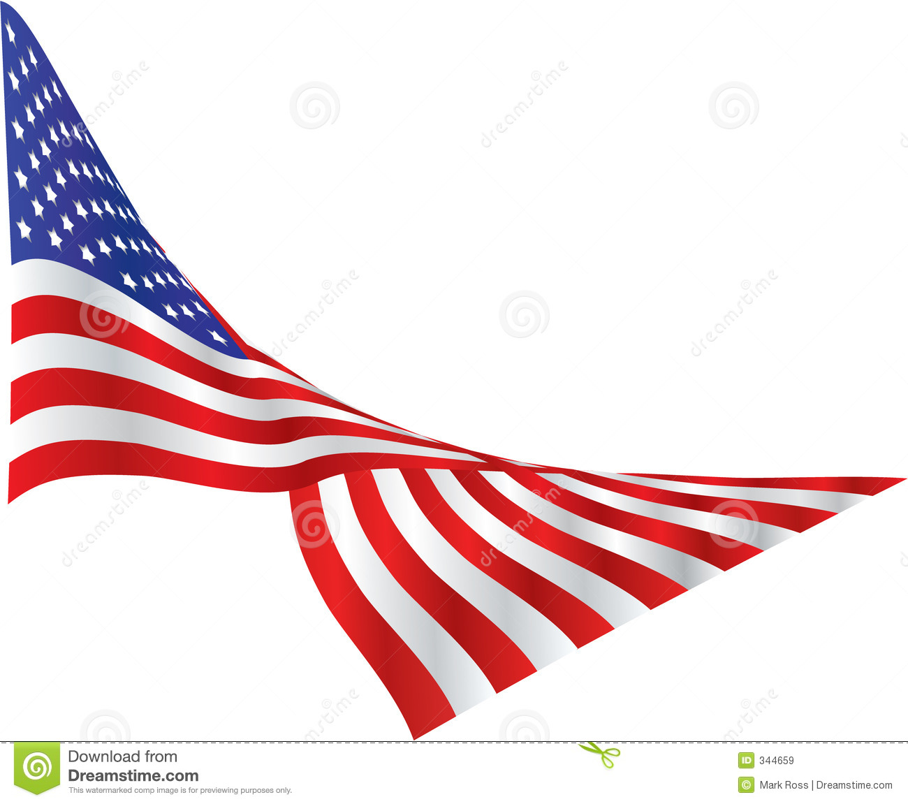 American Flag Draped In The Wind Stock Illustration ...