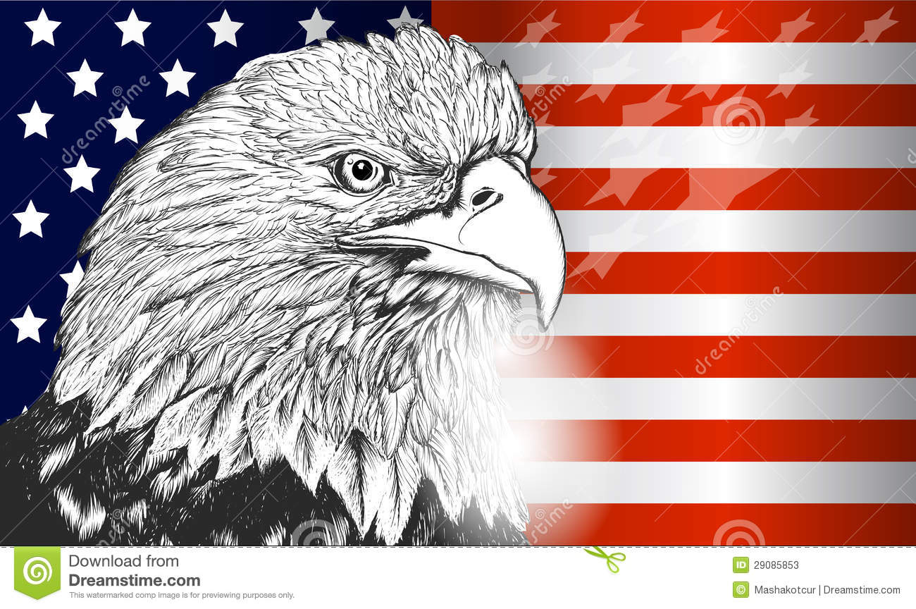 American Flag with Eagle Symbol