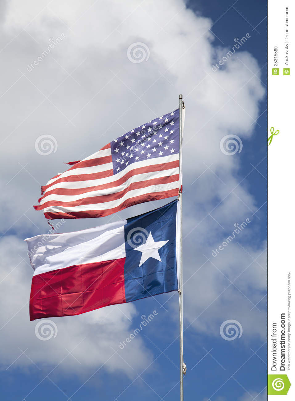 American flag and flag of Texas
