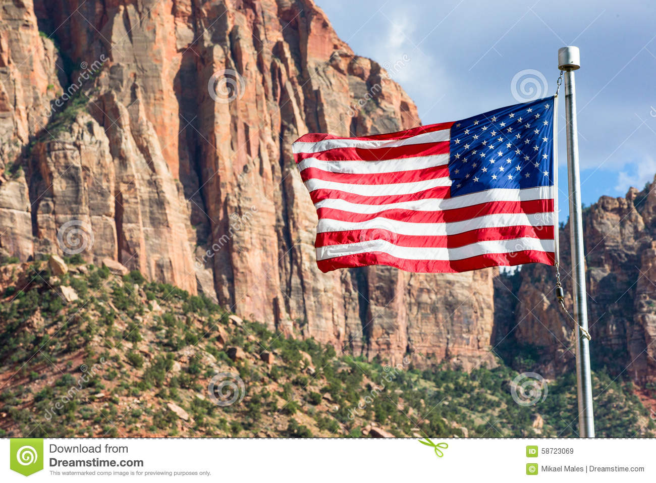 American Flag flying in Zion Park