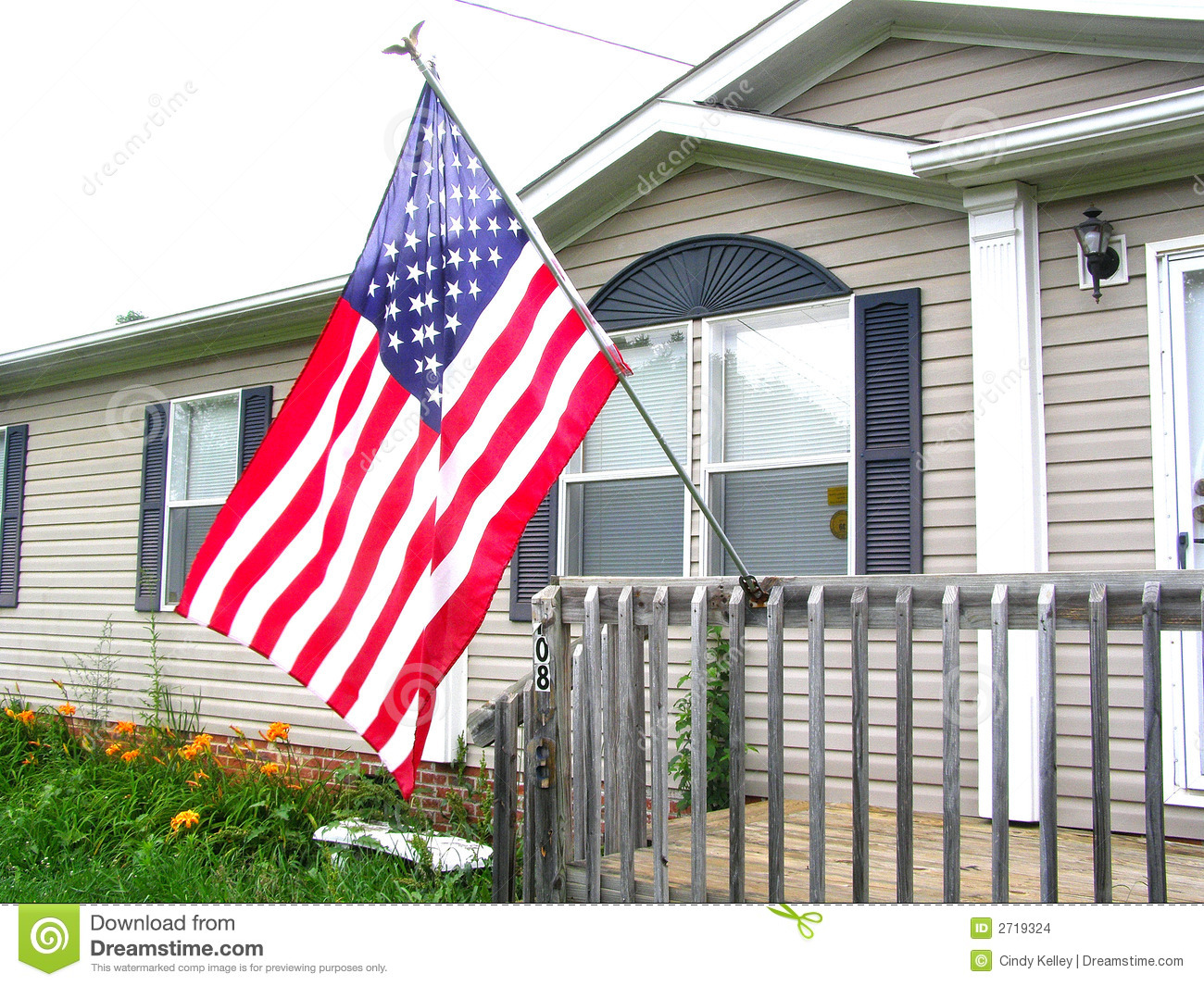 American Flag On Front Porch Stock Photo 2719324 Megapixl