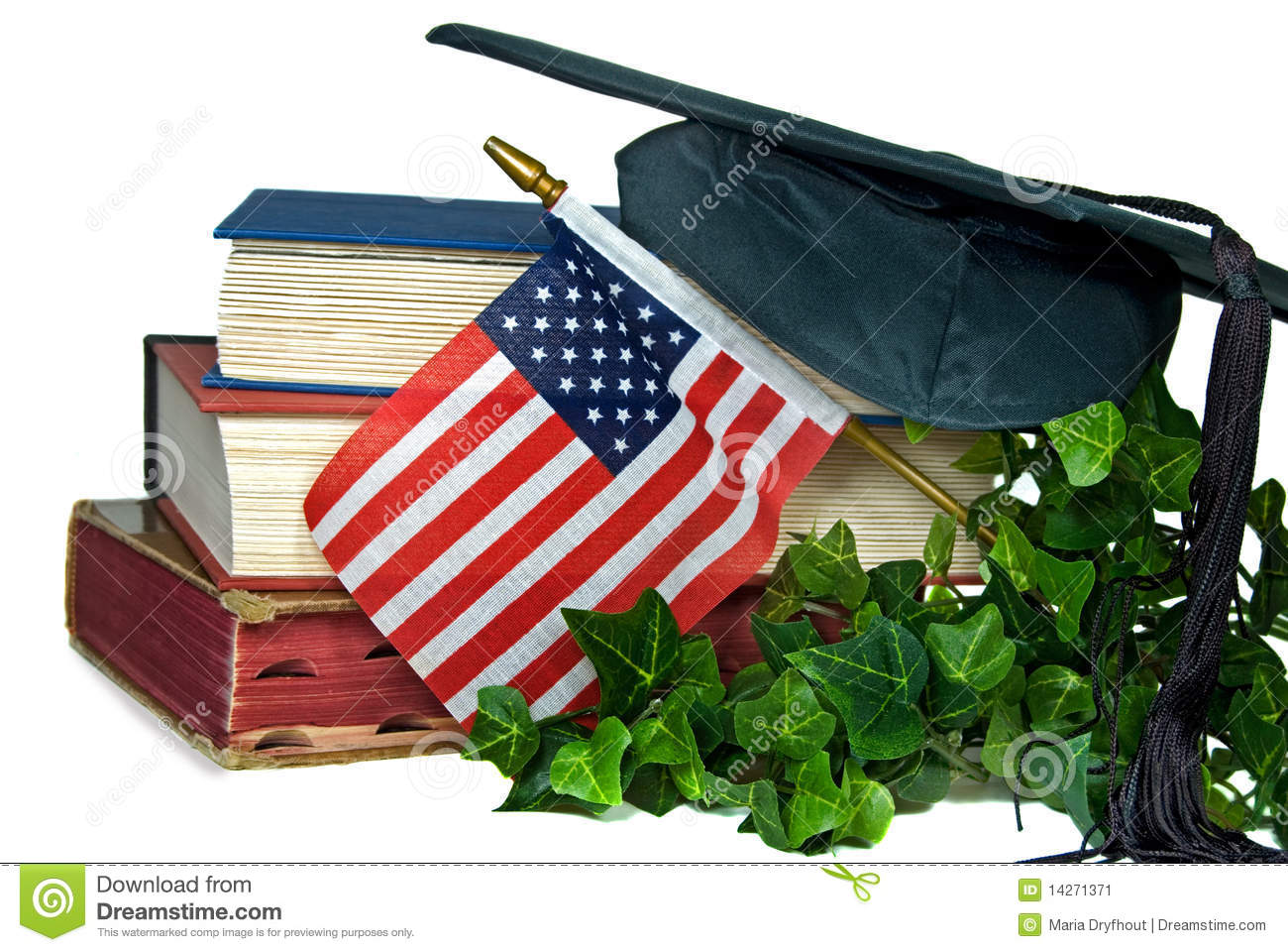 American flag with graduation hat