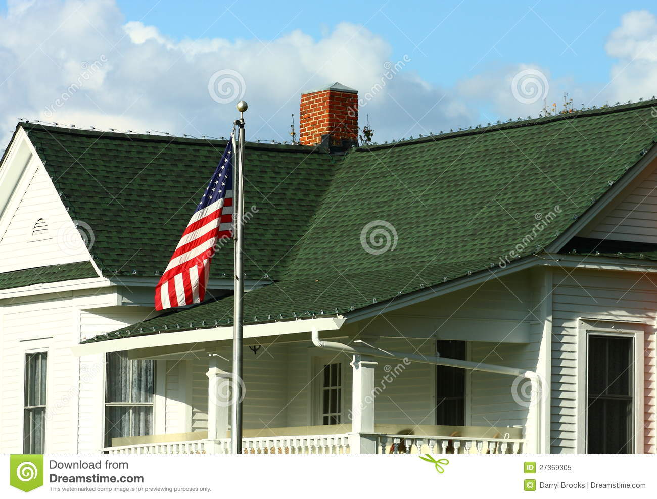 Gambrel Roof Pictures American Flag By Green Shingles House Stock Image Image