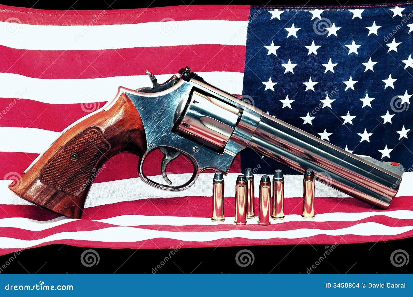 American flag and gun