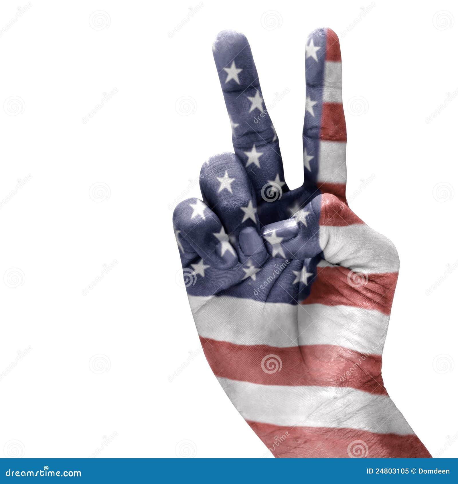 American flag on hand