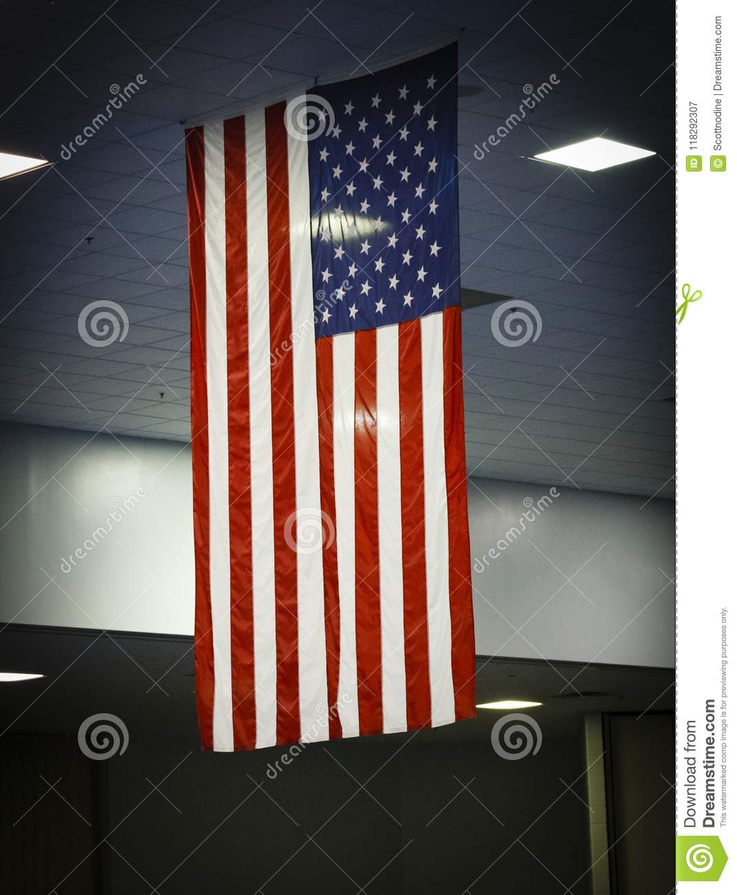 An American Flag Hangs On Display Inside Above Everything
