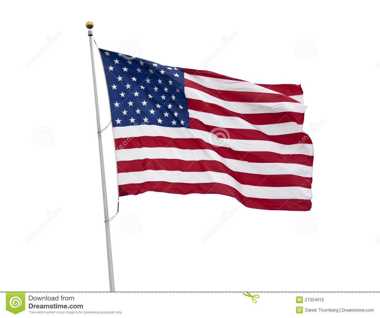 American Flag Isolated...