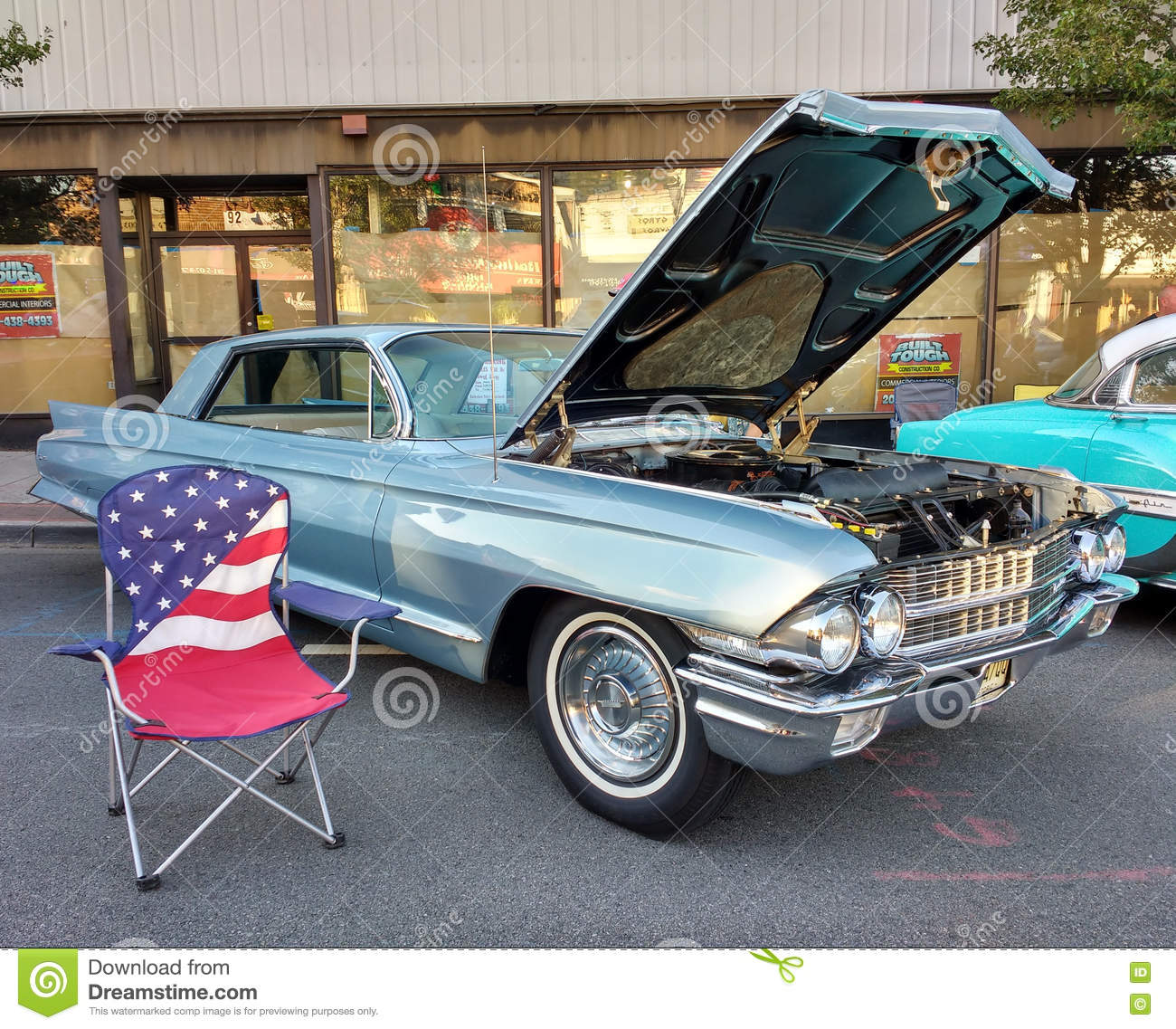 American Flag Lawn Chair Near A Classic Car At A Car Show Editorial - Car show usa