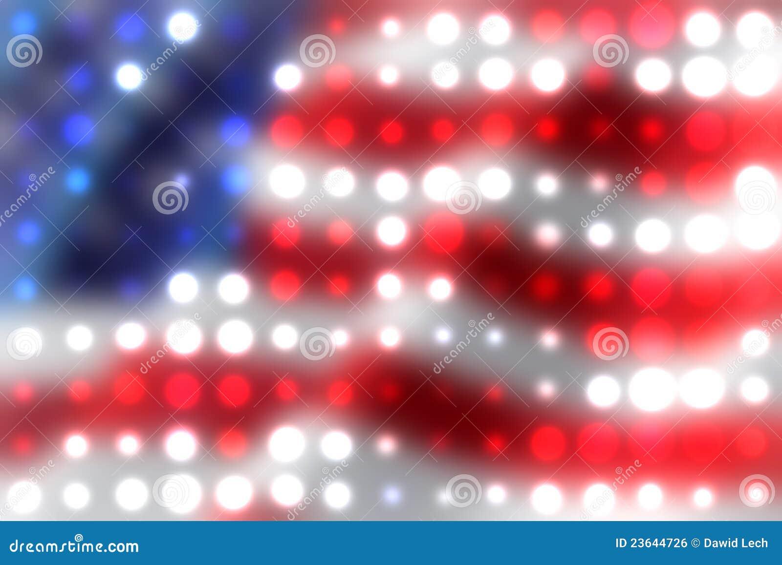 American flag light spots background