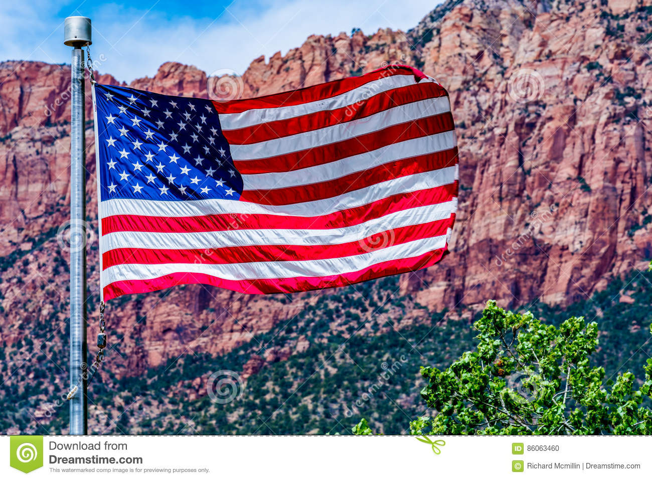American Flag in National Park, USA.