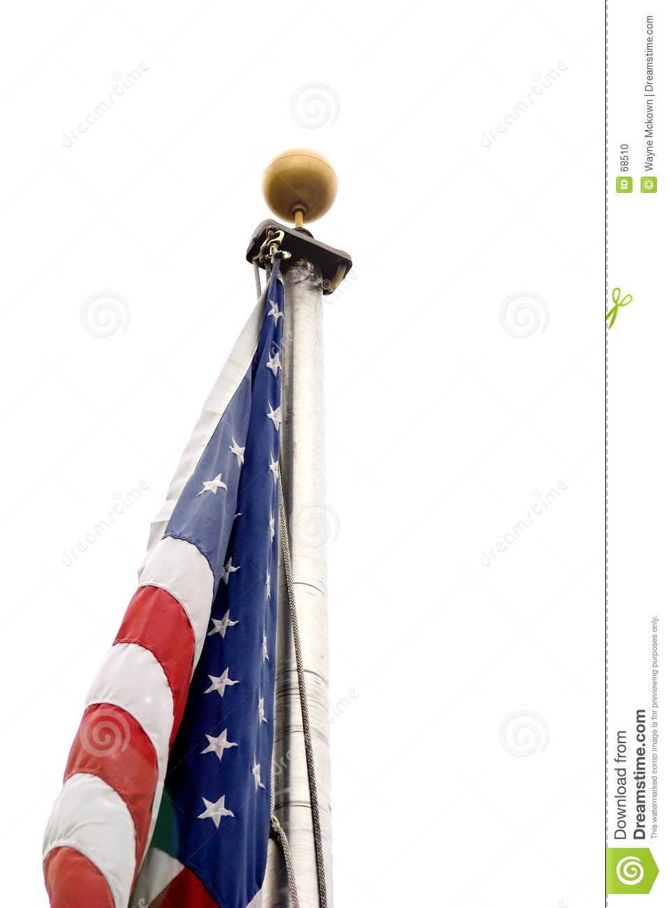 American flag with no wind