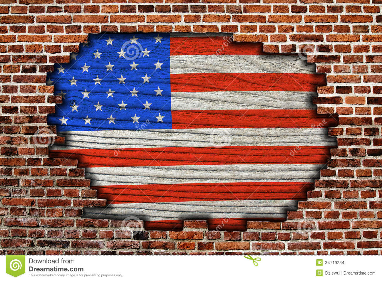 American flag on old brick wall stock images image 34719234 for American brick and stone