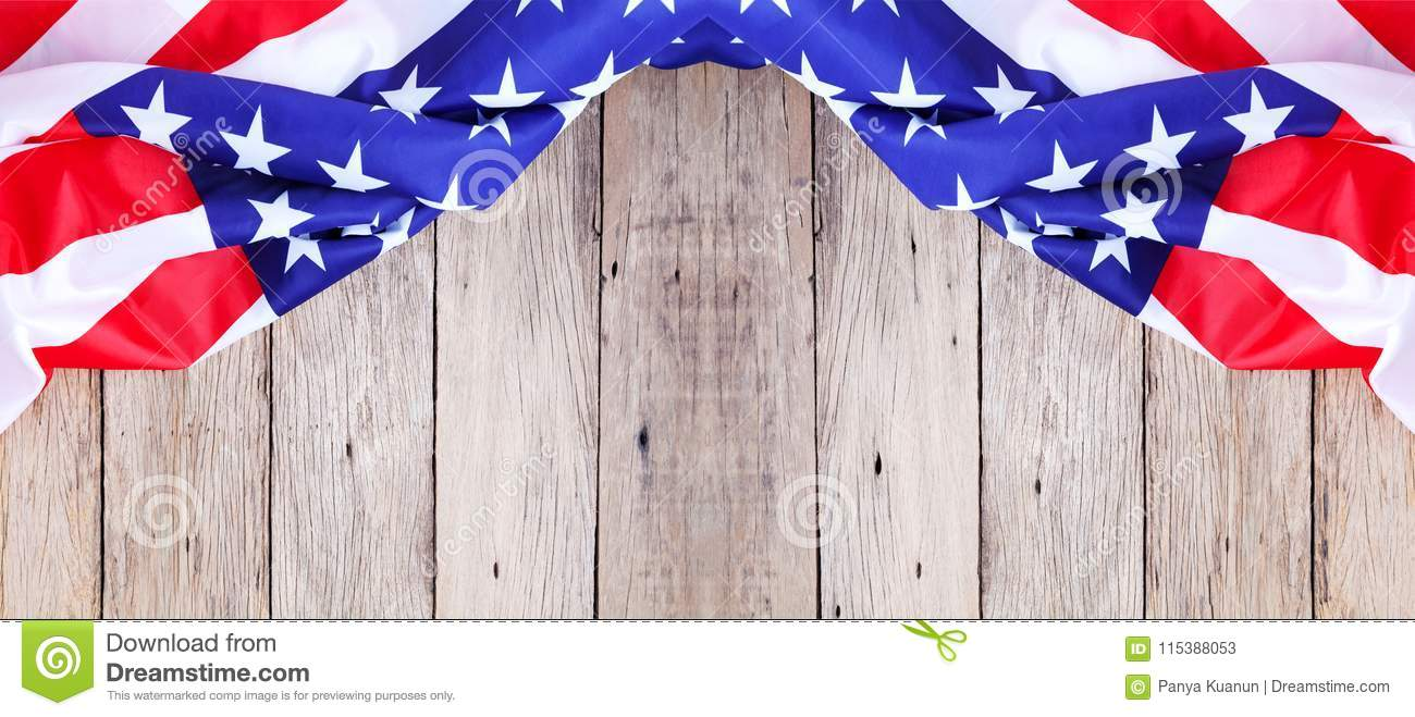 American Flag On Old Wood Background For Add Text Memorial Day O