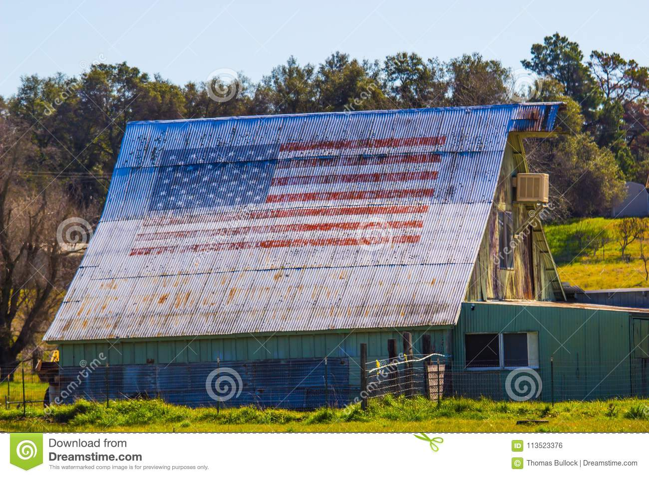 dc74a4cca300 American Flag Painted On Old Tin Roof Of Barn Stock Photo - Image of ...