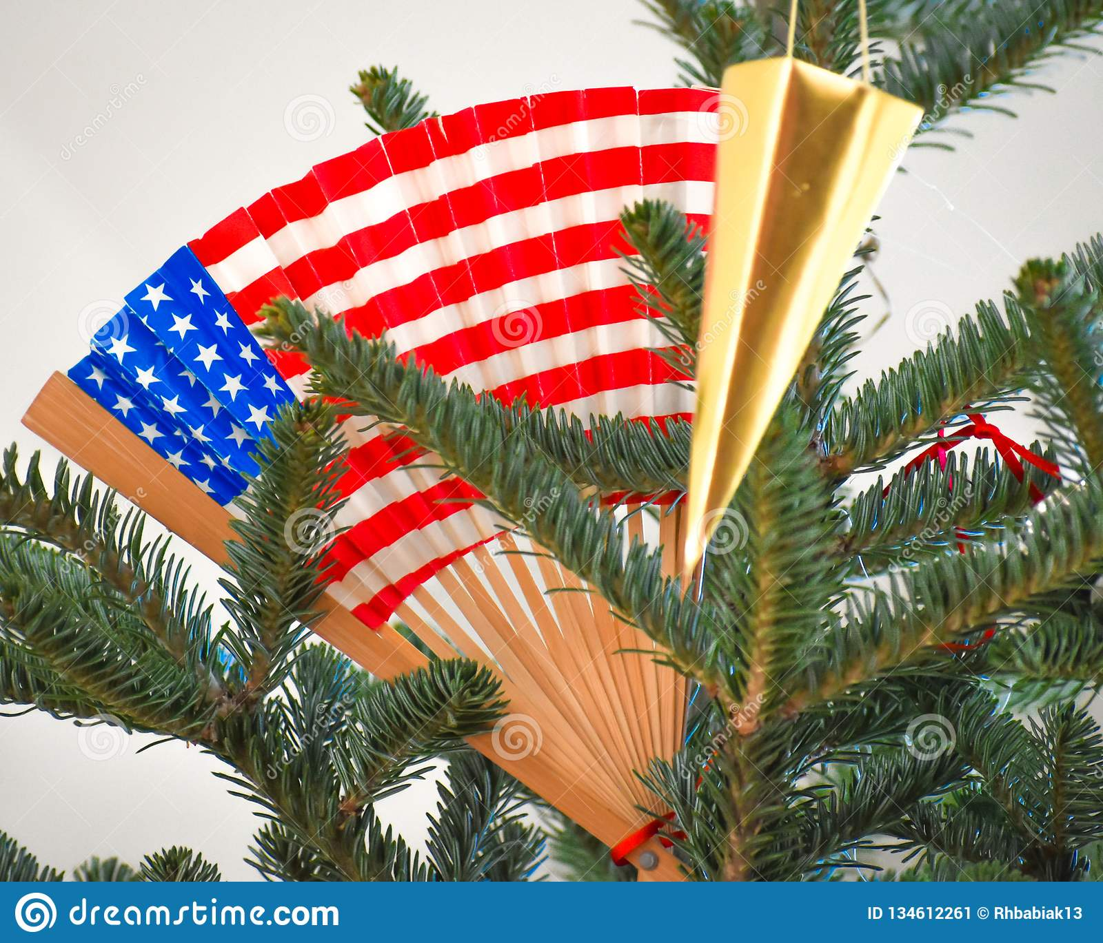 An Evergreen Christmas.American Flag Patriotic Flag In Christmas Tree Stock Image