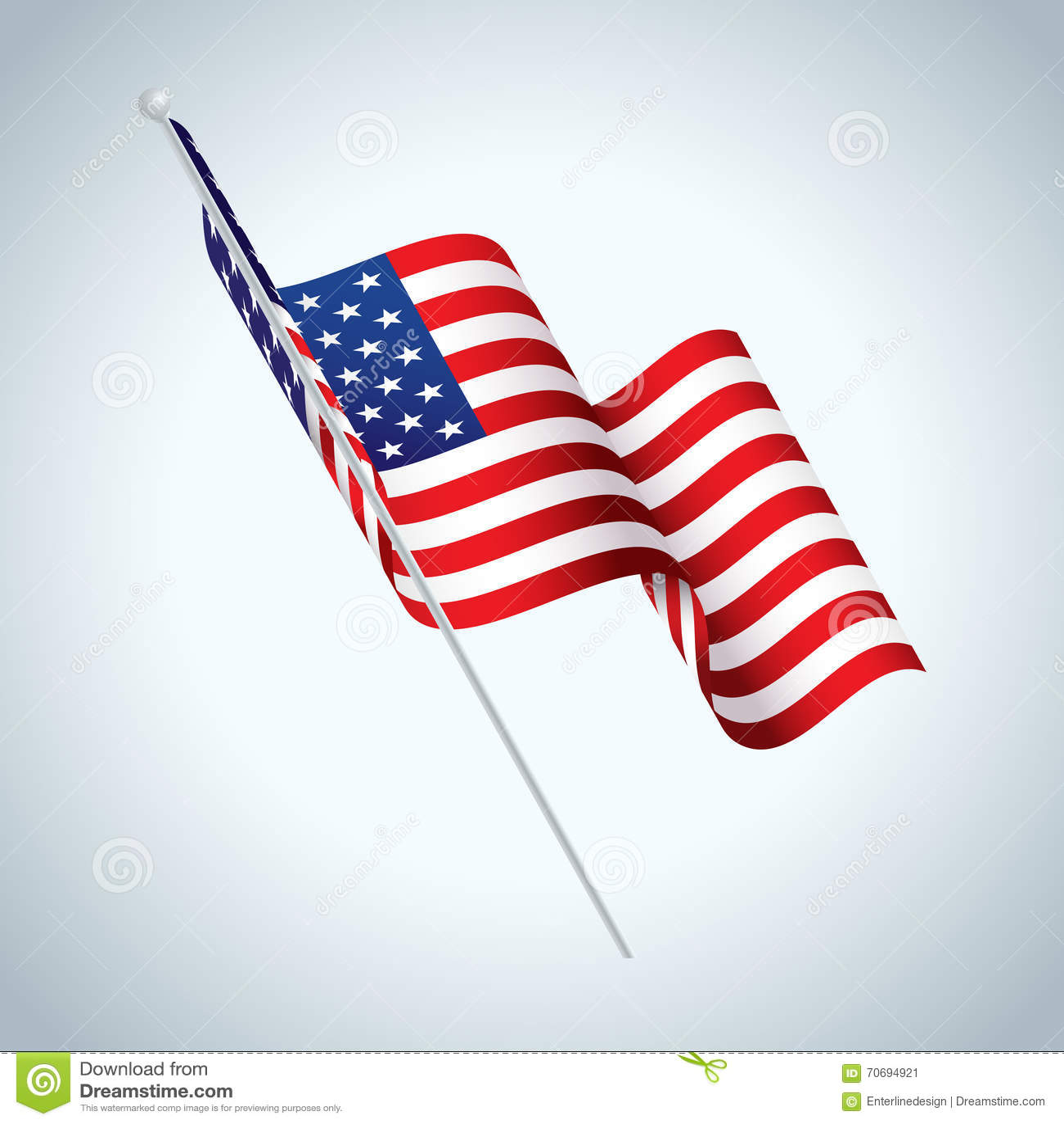 086aa400e73 Royalty-Free Vector. American Flag on Pole Waving Illustration
